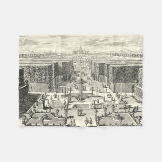 Oil Painting of Fountains at Garden of Versailles Fleece Blanket