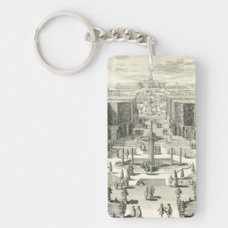 Oil Painting of Fountains at Garden of Versailles Key Ring