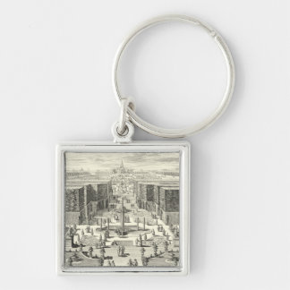 Oil Painting of Fountains at Garden of Versailles Silver-Colored Square Key Ring