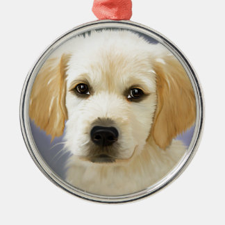 Oil Painting Portrait Of Labrador Retriever Puppy Silver-Colored Round Decoration