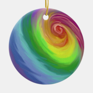 Oil painting rainbow swirl pattern ornament