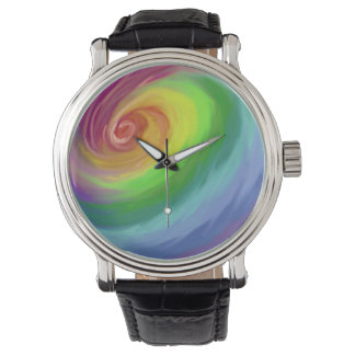 Oil painting rainbow swirl pattern watch