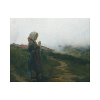 Oil Painting Young Girl Knitting Scenic Landscape Canvas Print