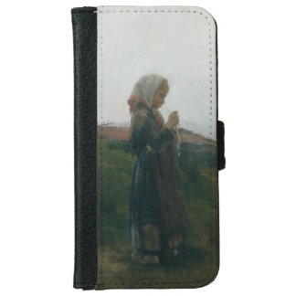 Oil Painting Young Girl Knitting Scenic Landscape iPhone 6 Wallet Case