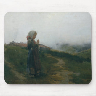 Oil Painting Young Girl Knitting Scenic Landscape Mouse Pad