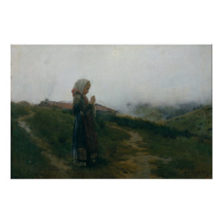 Oil Painting Young Girl Knitting Scenic Landscape Poster