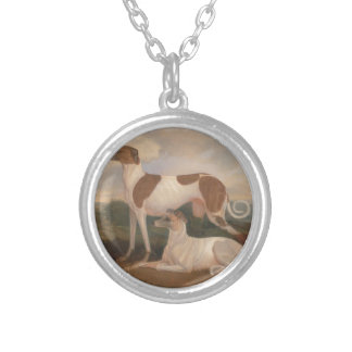 oil paintings of greyhounds round pendant necklace