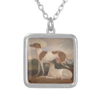oil paintings of greyhounds square pendant necklace