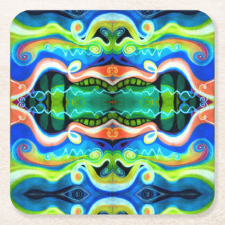 Oil Pastel Abstract Paper Coaster | Geometric