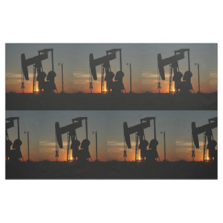 "Oil Pump Jack At Sunset 9"" Fabric"