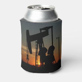 Oil Pump Jack At Sunset Can Cooler