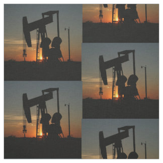 Oil Pump Jack At Sunset Fabric
