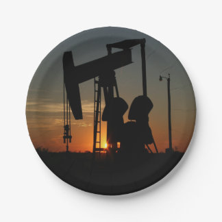 Oil Pump Jack At Sunset Party Plates 7 Inch Paper Plate