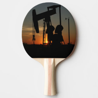 Oil Pump Jack At Sunset Ping Pong Paddle