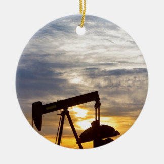 Oil Pumper At Sunrise Vertical Image Christmas Ornament