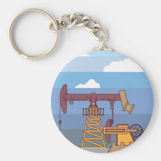 Oil Pumping Rig Basic Round Button Key Ring