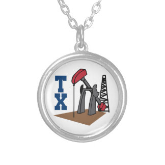OIL RIG AND TEXAS ROUND PENDANT NECKLACE