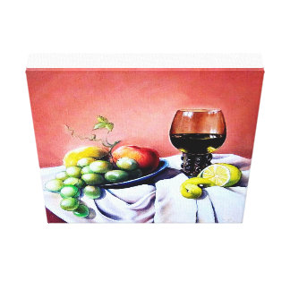 Oil stil life for restaurant decoration canvas print