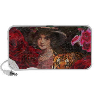 Oil Textured Roses Tiger Woman Speakers