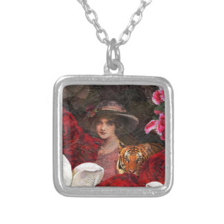 Oil Textured Roses Tiger Woman Square Pendant Necklace