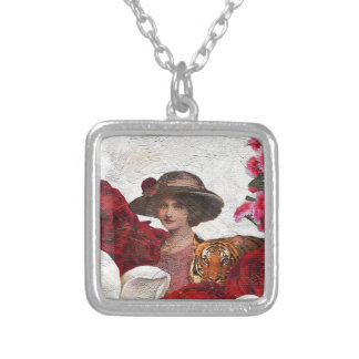Oil Textured Vintage Woman Tiger Square Pendant Necklace