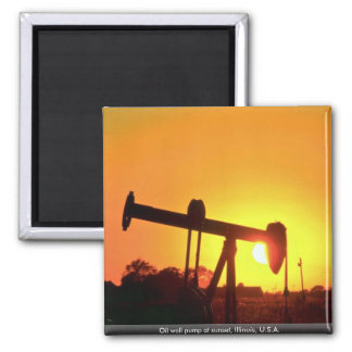 Oil well pump at sunset, Illinois, U.S.A. Square Magnet