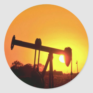 Oil well pump at sunset, Illinois, U.S.A. Round Stickers