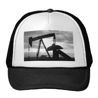 Oil Well Pump Jack Black and White Mesh Hats