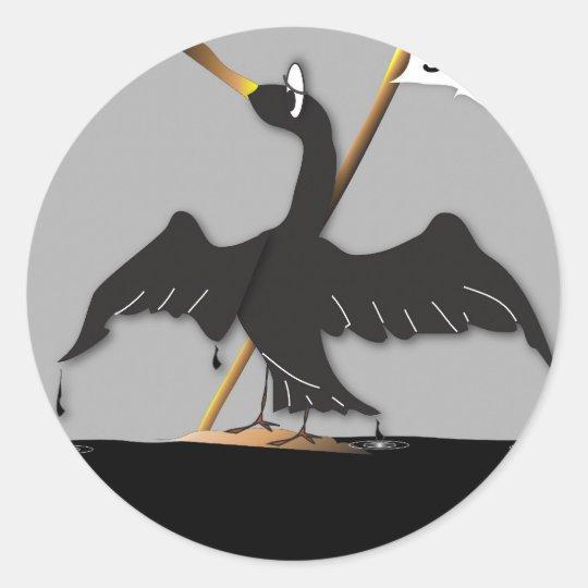 Oiled Bird SOS Round Sticker