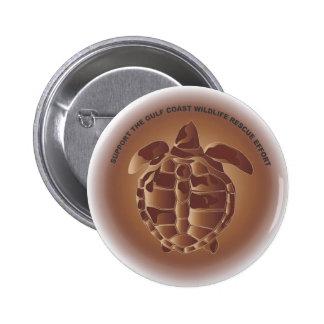 Oiled Kemp's Ridley Sea Turtle 6 Cm Round Badge