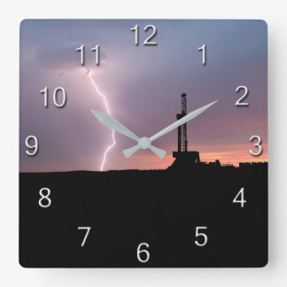 Oilfield Lightning Purple Sunrise Square Wall Clock