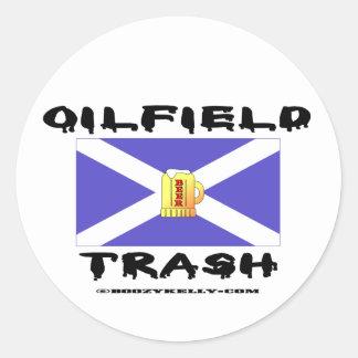 Oilfield Trash, Scottish, Sticker, Oil, Round Sticker