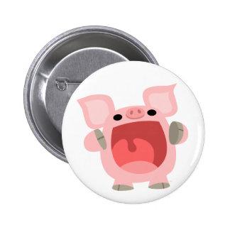 """OINK!!!"" Cute Cartoon Pig Button Badge"