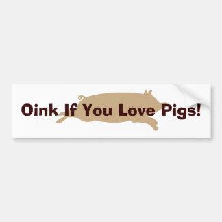 Oink Love Pigs Bumper Sticker (brown)