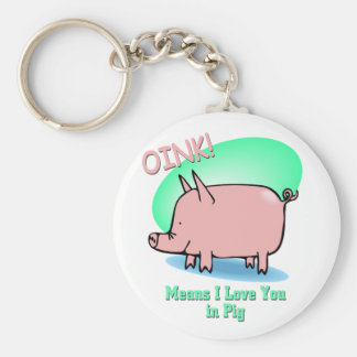 Oink means I Love You Basic Round Button Key Ring