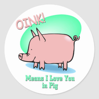 Oink means I Love You Classic Round Sticker