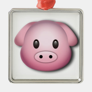 Oink Oink Cute Pig Silver-Colored Square Decoration