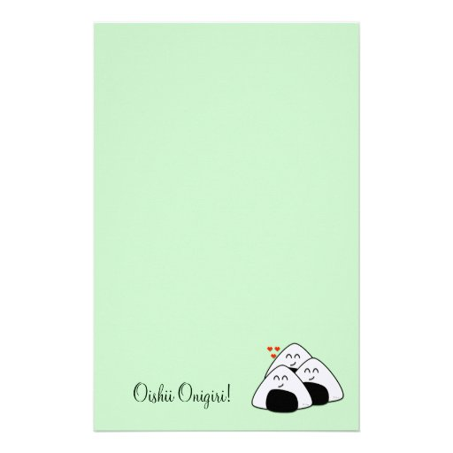 Oishii Onigiri Stationary (Pale Green) Stationery