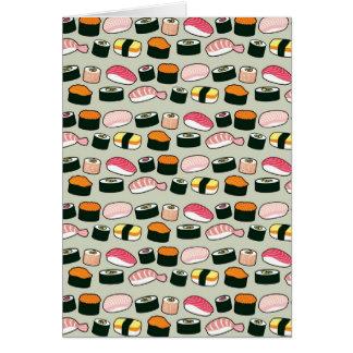 Oishii Sushi Fun Illustrations Pattern (Grey) Card
