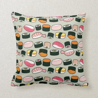 Oishii Sushi Fun Illustrations Pattern (Grey) Cushion