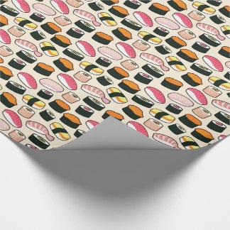Oishii Sushi Fun Illustrations Pattern (Grey) Wrapping Paper