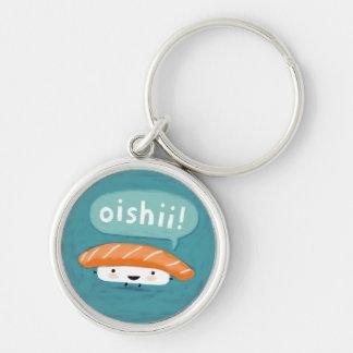 Oishii Sushi Silver-Colored Round Key Ring