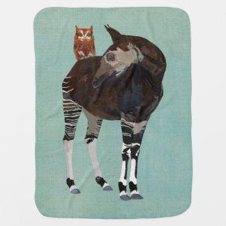 OKAPI & FLORAL OWL Baby Blanket