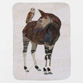 OKAPI & OWL WHITE Baby Blanket
