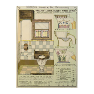 Okeanos Closets from a catalogue of sanitary wares Wood Print