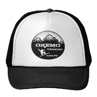 Okemo Vermont black white snowboard art hat