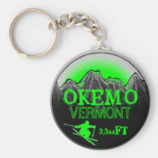 Okemo Vermont green ski art elevation keychain