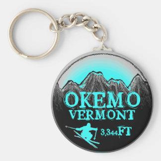 Okemo Vermont teal ski art elevation keychain