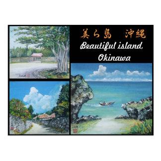 Okinawa Postcard with Three Original Paintings