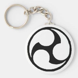 okinawan triskelle basic round button key ring
